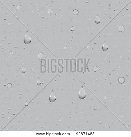 Water drops on a blue background. Clean drop condensation illustration.
