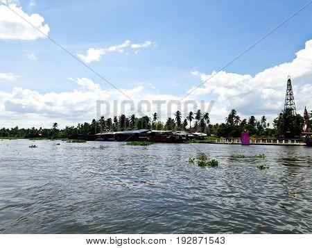 Countryside along Tha Chin river(Maenam Tha Chin)Nakhon PathomThailand