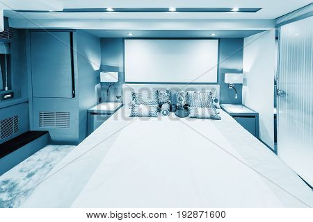CANNES FRANCE - SEPTEMBER 9th 2015. Luxurious interior of a modern yacht. Cannes harbor. Blue colored.