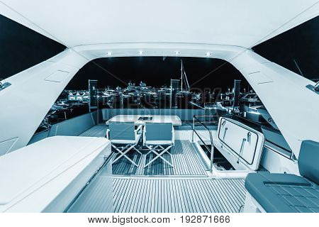CANNES FRANCE - SEPTEMBER 9th 2015. Sitting on the upper deck of the yacht. Luxurious interior of a modern yacht. Yachts anchored in Port Pierre Canto at the Boulevard de la Croisette