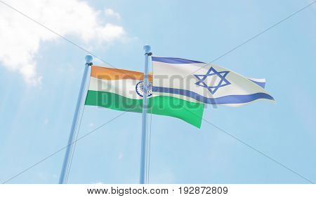 India and Israel, two flags waving against blue sky. 3d image