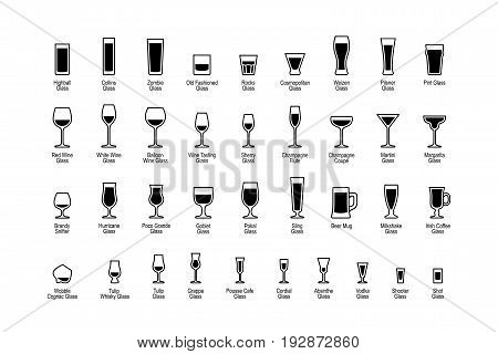 Drink glasses with titles black and white icons set. Vector illustration