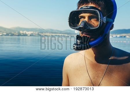 Diver With Mask For Diving And Snorkel At The Sea Shore. Tourism Travel Journey Freediving Concept