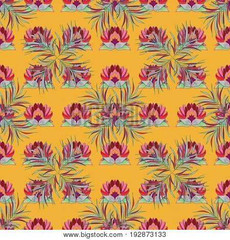 Seamless floral pattern can be used for sketch website background wrapping paper. Summer design. Vector flower concept. Leaf natural pattern in colors.