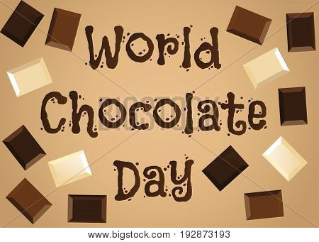 World chocolate day background with pieces of white, dark and milk chocolate bars