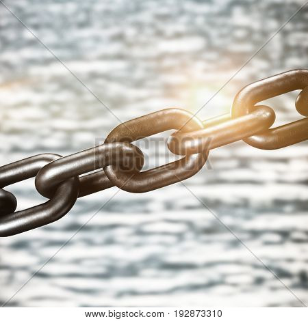 Closeup 3d image of chain against view of river and forest