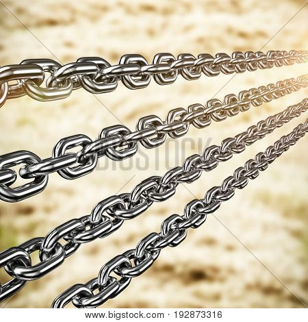 Row of 3d metal chains against harvester machine working on field