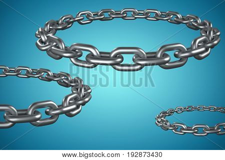 3d image of round metal chain against blue vignette background