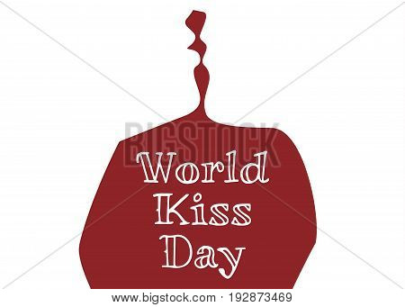 World kiss day background with silhouette of kissing woman and man