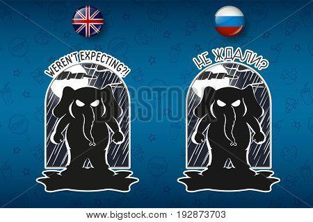 Elephant cute Nick. Big set of stickers in English and Russian languages. Vector, cartoon