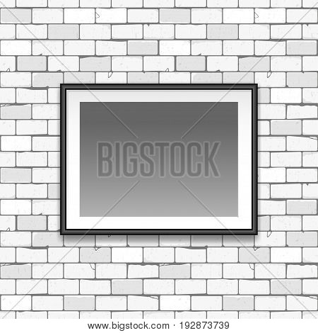 Gallery Interior With Empty Black Frame On Gray Old Brick Wall S Can Be