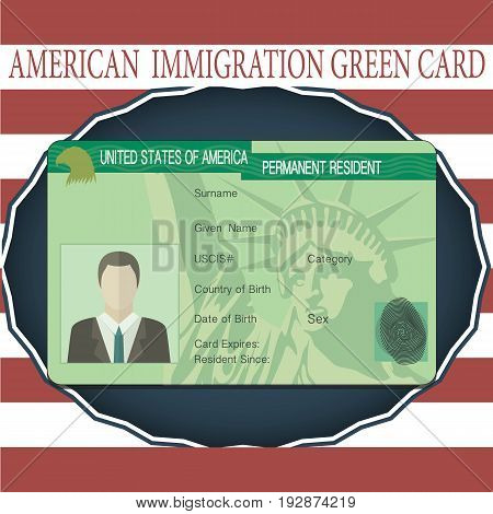 American Green Card Lottery, grenn card isolated object