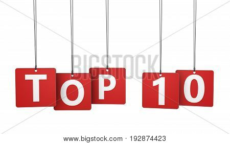 Top ten sign and word on red paper tags isolated on white background 3D illustration.