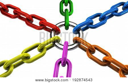 Teamwork cooperation and business collaboration concept with linked chains in different colors 3D illustration on white background.