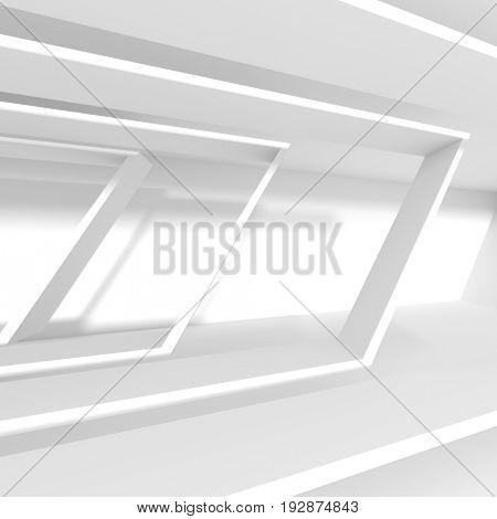 Futuristic Architecture Design. White Background with Minimalistic Building Construction. Column Interior Concept. 3d Rendering