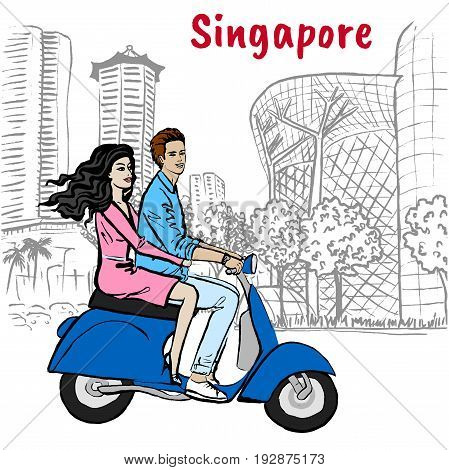 Hand-drawn sketch couple driving scooter on Orchard Road in Singapore