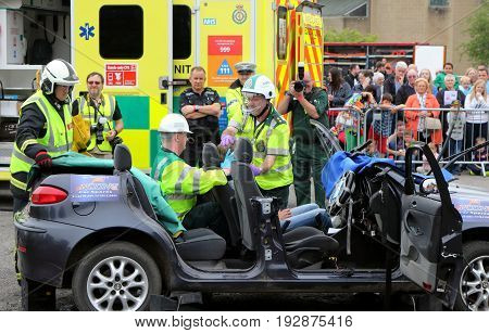 Beaulieu, Hampshire, Uk - May 29 2017: Two Paramedics Assisting A Casualty During A Vehicle Rescue D