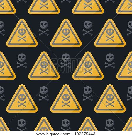 Danger sign vector flat seamless pattern Flat design of danger alert poison or Jolly Roger symbol on the dark background vector illustration with swatch