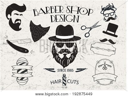 Barber Shop design in retro style with isolated objects