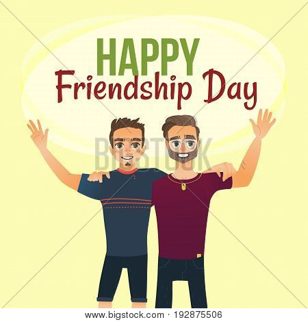 Happy friendship day greeting card design with two men, friends hugging each other, cartoon vector illustration on white background. Half length portrait of male friends, friendship day greeting card