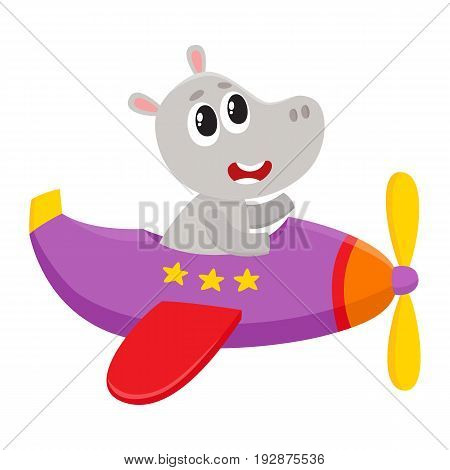 Cute funny hippo pilot character flying on airplane, cartoon vector illustration isolated on white background. Little baby hippo pilot, animal character flying in open airplane