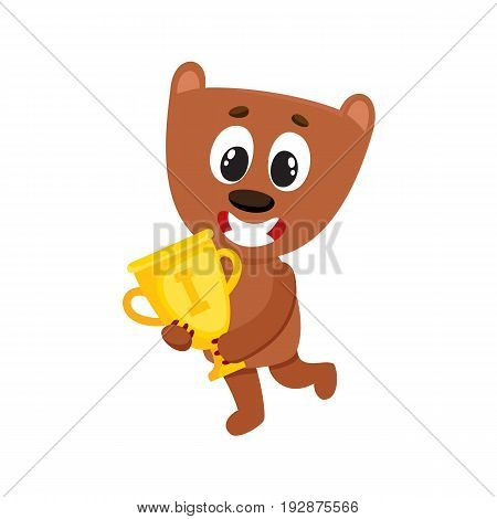 Cute little teddy bear character, champion holding golden winner cup, cartoon vector illustration isolated on white background. Little baby bear animal champion holding cup for taking first place