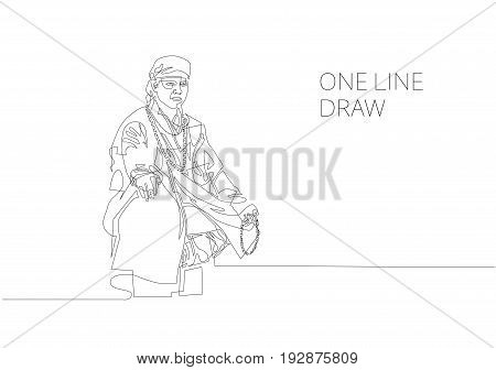 continuous one line modern drawing of buddhist monk sits in meditation isolated on white background, vector illustration