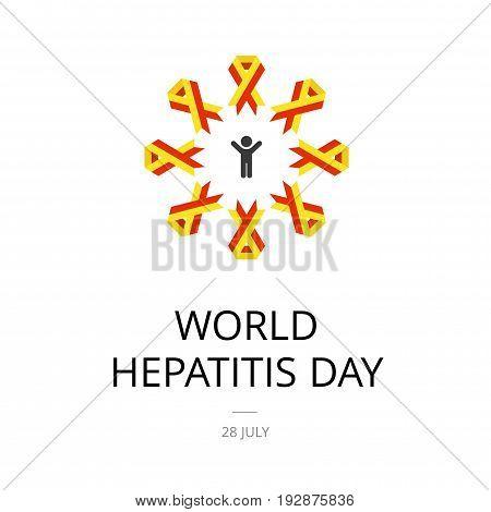 Illustration of World Hepatitis Day on white background.