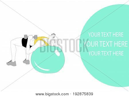 Athletic girl doing pilates exercises with a ball. Exercises on fitball. Place for your inscription. Ready template for your design. Vector