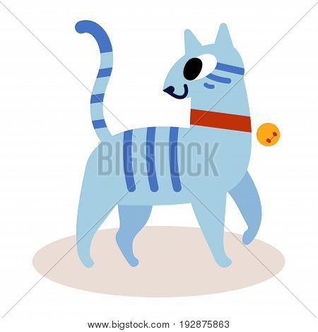 Cute striped blue cartoon cat isolated on white background. In a red collar with a bell. Simple modern flat style vector