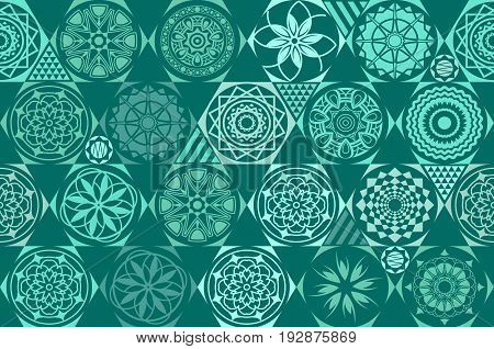 Mint Blue Drops On Turquoise And White Stripes. Seamless Vector Pattern On Striped Mint Background.