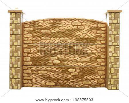 Brown textured decorated isolated concrete fence isolated over white background