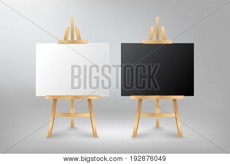 Black and White mock up empty blank canvas on wooden easel, vector illustration