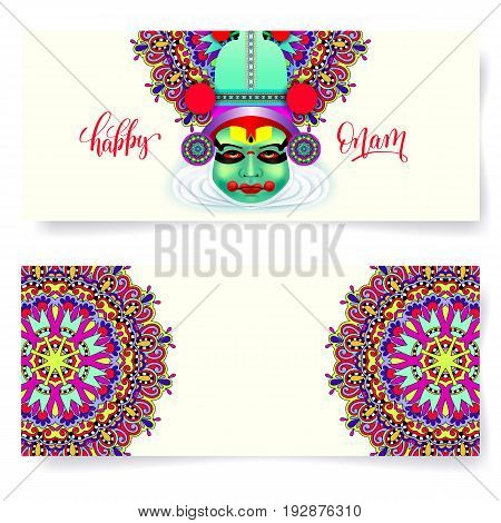 happy onam holiday horizontal greeting card banner design with indian kathakali dancer face, hand lettering text and circle floral ornament, vector illustration
