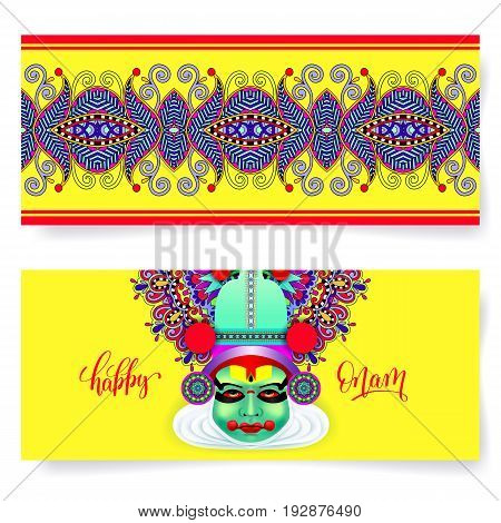 happy onam holiday horizontal greeting card banner design with indian kathakali dancer face, hand lettering text and stripe floral ornament, vector illustration