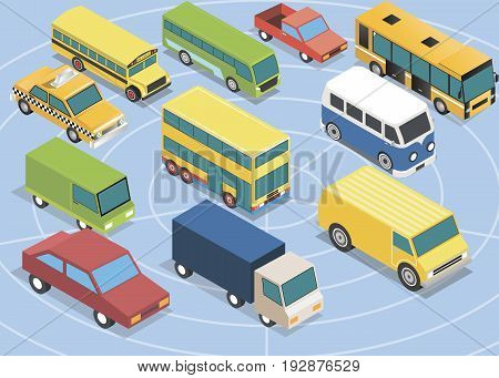 Colletion of isolated Isometric 3d cars set vector