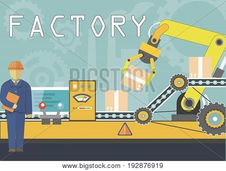 Automatic Factory System concept with man who configurate machine