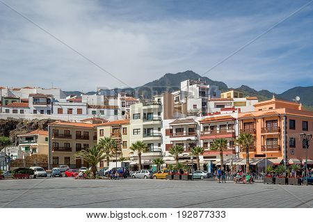 Plaza de la Patrona, Candelaria central square view and Teide mountain at the background. Tenerife island, Spain