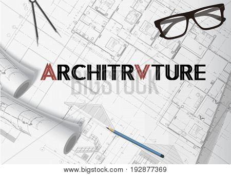 Architecture plan background banner vector with isolated elements