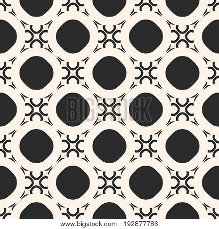 Monochrome Seamless Pattern. Vector abstract geometric ornament texture, round lattice, mesh, circles, diagonal grid. Abstract repeat mosaic background. Design element for prints, decor, digital, web. Vector Seamless Pattern.