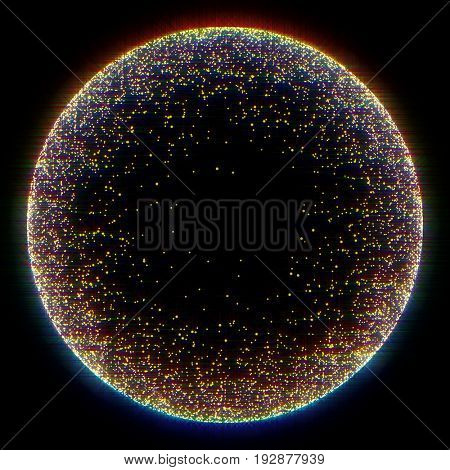 Glittering light background with bright sparkling star dust texture with diamond shine. Circle design with gold placer on black background.