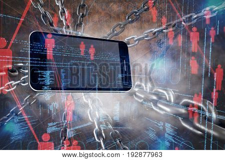 3d image of metallic silver chains intersecting against binary codes and people icons