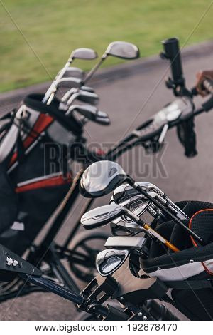 Close-up View Of Shiny Golf Clubs In Golf Bags Outdoors