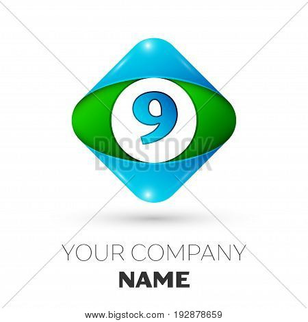 Realistic Number nine vector logo symbol in the colorful rhombus on white background. Vector template for your design