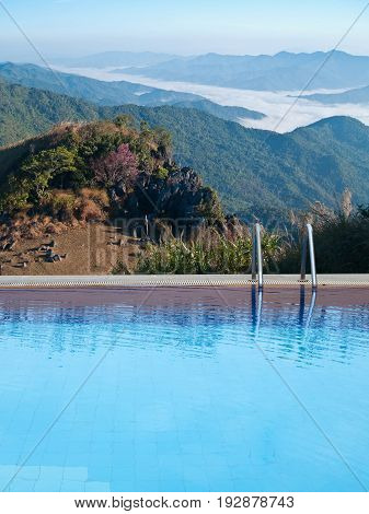 Swimming Pool With Mountain Mist