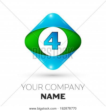 Realistic Number four vector logo symbol in the colorful rhombus on white background. Vector template for your design