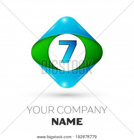 Realistic Number seven vector logo symbol in the colorful rhombus on white background. Vector template for your design