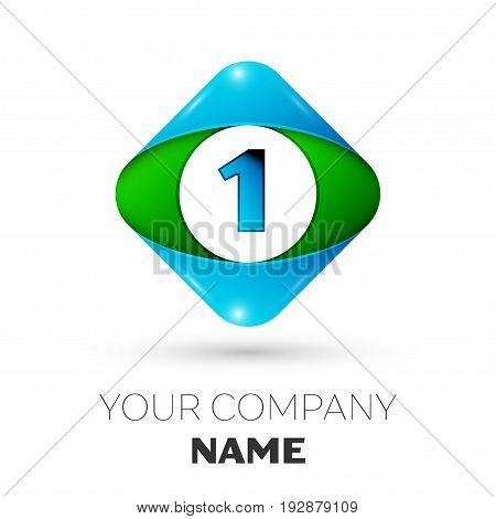 Realistic Number one vector logo symbol in the colorful rhombus on white background. Vector template for your design