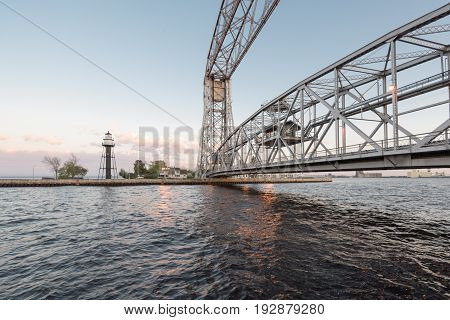 Aerial Lift Bridge and Lighthouse in Canal Park in Duluth Minnesota