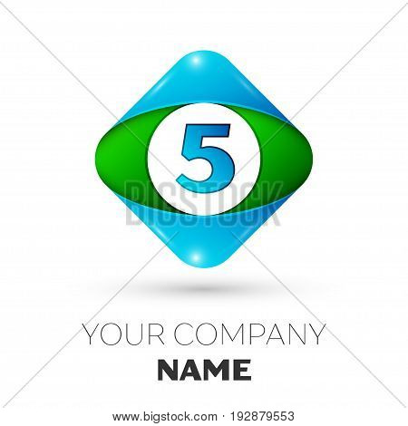 Realistic Number five vector logo symbol in the colorful rhombus on white background. Vector template for your design